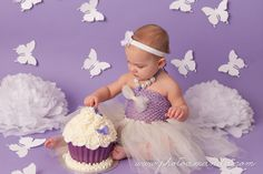 purple and white butterfly cake smash