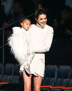 Kendall Jenner & North West attend Kanye West's Lauch of Yeezy Season 3 at Madison Square Garden on February 11, 2016. (REX)