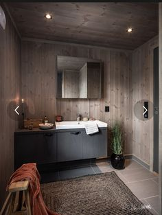 Grey Interior Design, Bath Light, House Goals, House In The Woods, Cabin, Bathroom, Modern, Home Decor, Plantation Houses