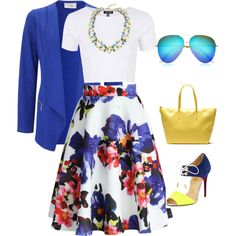 Midi Skirt & Cobalt Blue Blazer by moumous on Polyvore featuring Topshop, Wallis, Chicwish, Christian Louboutin, Lacoste, Leslie Danzis and Victoria Beckham