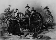 Molly Pitcher at the Battle of Monmouth in June 1778. Copy of engraving by J. C. Armytage after Alonzo Chappel.
