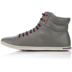 Zuriick footwear - Mens Thomas High-Top Sneaker Elephant (£86) ❤ liked on Polyvore featuring men's fashion, men's shoes, men's sneakers, shoes, mens hi tops, mens high tops, mens black hi top sneakers, mens high top shoes and mens purple sneakers