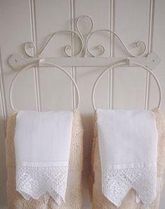 Cream Metal Towel Rings DOUBLE