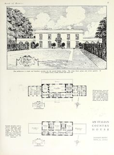 "From House and Garden's 1929 Book of Houses, a ""compact"" 3 bath plus powder room ""Italian"" style home with quarters for at least four servants. More lavish than compact I'd say! Classic Architecture, Architecture Drawings, Residential Architecture, Architecture Details, Georgian Architecture, Architecture Plan, Italian Style Home, Casa Top, Vintage House Plans"