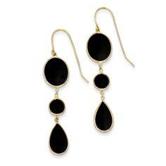 "14k Black Onyx Geometric Dangle Earrings - 14k black onyx geometric dangle earrings, with oval, round, and teardrop discs of black onyx framed and linked with 14k yellow gold for stylish appeal. Shepherd hook earrings measure 2"" long and 7/16"" wide. Made in the U.S."