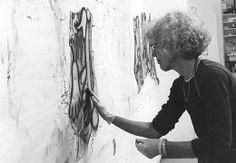 Elizabeth Murray working on Whazzat project in Gemini artist studio, April 1996