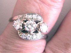 3 Stone Diamond Ring 14kt White Gold with Diamond accents Vintage Estate #estatevintage #Vintage