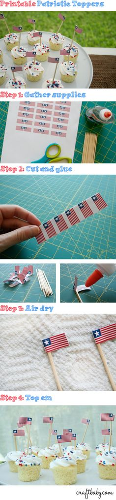 Fourth of July Free Downloadable Patriotic Cupcake Topper Template