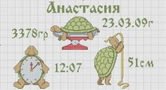 image Birth Certificate, Baby Birth, Minnie, Crossstitch, Boards, Image, Alphabet, Clothes Line, Kites