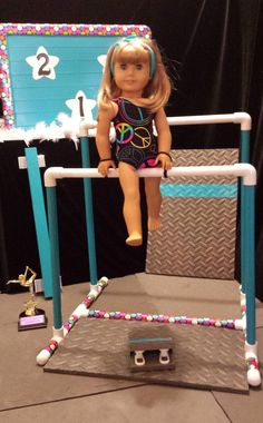 "EVEN BARS GYMNASTIC SET fits American Girl Doll /& all 18/"" dolls Mat Carry Bag"