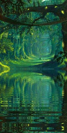 The Magic Faraway Tree, tree over the mysterious river, lake concept art landscape green nature world environment scene, speed painting Fantasy Places, Fantasy World, Fantasy Forest, Magic Forest, Forest Elf, Mystical Forest, Dream Fantasy, Forest City, High Fantasy