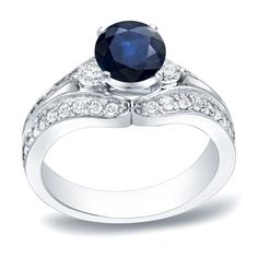 Auriya 14k Gold 1/2ct Blue Sapphire and 3/4ct TDW Round Diamond Engagement Ring (H-I, SI1-SI2) (Yellow Gold - Size 5), Women's