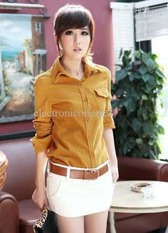 Lady OL Button Front Corduroy Shirt Top Yellow Pink Orange S #TPN