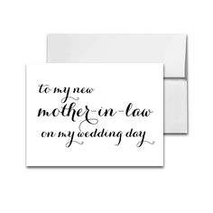 Wedding Card Elegant Black and White - To My New Mother In Law On My Wedding Day - Instant Download Printable