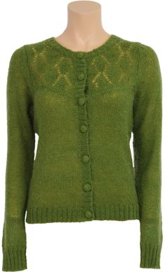 Vintage Inspired Winter | ◊ | Cardigan Wool Ajour Pattern - Spinach Green Long Sleeve | ◊ | King Louie AW14