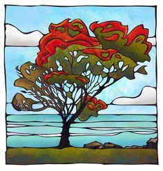 Pohutukawa Ahuriri Napier New Zealand By NZ Artist Sam Lewry Landscape Quilts, Landscape Paintings, Painting Inspiration, Art Inspo, New Zealand Art, Nz Art, Kunst Poster, Maori Art, Cowboy Art