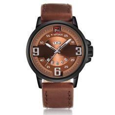 Sale 30% (17.99$) - NAVIFORCE NF9086 Fashion Men Quart Watch Casual Leather Strap Sport Watch