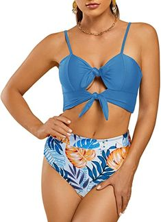DOULAFASS Womens High Waisted Swimsuit Crop Top Cut Out Two Piece Cheeky High Rise Bathing Suit Bikini