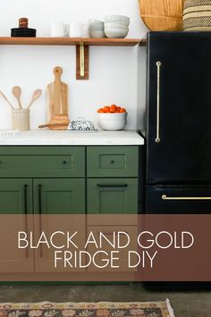 Last week we posted our studio kitchenette reveal and everyone had so many questions about our DIY black fridge with the brass pulls! When we started planning out our studio kitchen design we fell i Farmhouse Furniture, Kitchen Furniture, Furniture Handles, Studio Kitchenette, Diy Kitchen, Kitchen Cabinets, Rustic Kitchen, Kitchen Ideas, Fridge Makeover