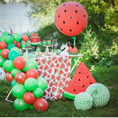 Lindeza que vi no IG Por . Watermelon Birthday Parties, Fruit Birthday, First Birthday Party Themes, Birthday Fun, Birthday Party Decorations, Watermelon Party Decorations, Birthday Ideas, Fruit Party, Fete Marie