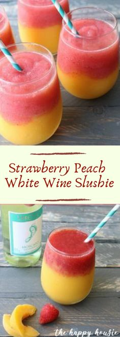 will love these strawberry peach white wine slushies - super easy to make and the perfect drink for your summer entertaining!You will love these strawberry peach white wine slushies - super easy to make and the perfect drink for your summer entertaining! Blended Drinks, Mixed Drinks With Wine, Summer Mixed Drinks, Fun Summer Drinks Alcohol, Easy Mixed Drinks, Summer Drink Recipes, Frozen Drink Recipes, Winter Recipes, Summer Desserts