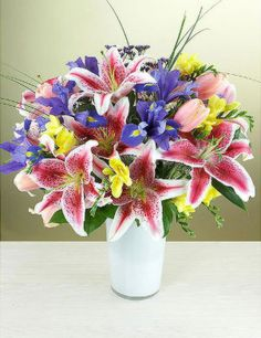 Gorgeous arrangememt of various colored Lilies
