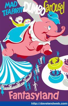 Vintage FANTASYLAND DUMBO CAROUSEL Disneyland Poster Repro Not Framed 16x20