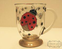 Hand Painted Lady Bug Coffee Mug