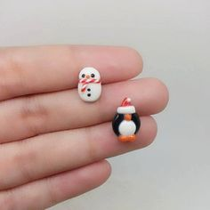 Christmas Snowman and Christmas Penguin Inspired Earring -Polymer clay Charm, Polymer Clay Jewelry, Polymer Clay Earring, Polymer Clay Charm