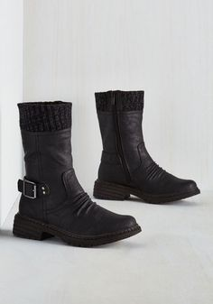 You love balancing your feminine style with elements of edge, and these black boots do just the trick! Pair the flecked knit cuff, classic silver ankle buckle, and subtle ruching of this vegan faux-leather pair with your flirtiest pieces, and invent ensembles that beg to be replicated.