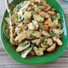 potatoes, rosemary, lemon juice & garlic-- serve warm, chilled, or at room temp.