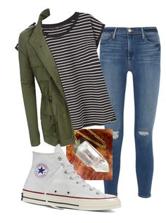 """""""School"""" by whitwhitmartin on Polyvore featuring Frame Denim, MANGO, LE3NO and Converse"""