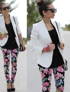 #floral #pants #blazer #fashion #style