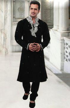 Black Dupion Silk Readymade #Kurta with Churidar @ $92.32 | Shop @ http://www.utsavfashion.com/store/item.aspx?icode=mkc169