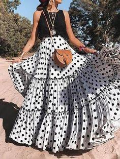 New Sexy Sleeveless Polka Dot Dress Set – dresshelike Womens Maxi Skirts, Printed Maxi Skirts, Pleated Skirts, Long Skirts, Look Fashion, Fashion Models, Fashion Brands, Cheap Fashion, Fashion Women