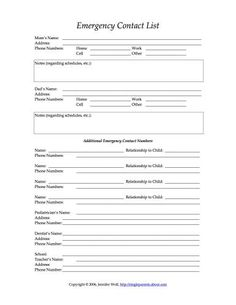 printable emergency contact form template babysitting pinterest