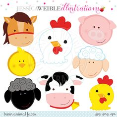 Barn Animal Faces Cute Digital Clipart by JWIllustrations on Etsy