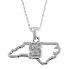 NC State Wolfpack Sterling Silver State Outline Necklace | Red and White Shop
