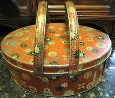~~Vintage Red Floral Picnic Tin W/Handles~~