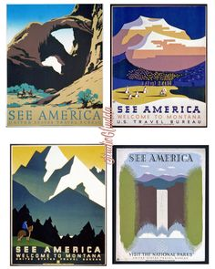 ART DECO-1930s WPA Posters-Travel Promotion-Vintage American Landscapes-4 Prints, National Parks, Nature, Collage, Scrapbook, Cards... by StudioGlindda on Etsy