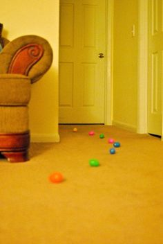 Fun Easter tradition! The Easter bunny leaves a trail from your Child's bedroom, to where their Easter basket it (in this case, the living room)! So fun for them to wake up and follow the trail. :)