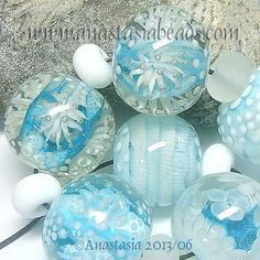ANASTASIA-lampwork-beads-7-FAIRY-FLOWERS-SRA <3<3<3SO ICEY..STYLISH & CHIC COOL<3<3<3 ADORE YOUR WORK!!