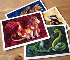 Hogwarts House Postcards! Hufflepuff, Gryffindor, Slytherin, Ravenclaw by SushiStudios on Etsy https://www.etsy.com/listing/255811564/hogwarts-house-postcards-hufflepuff