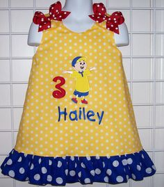 Yellow Polka Dot Caillou Applique Party Dress by thesewprincess