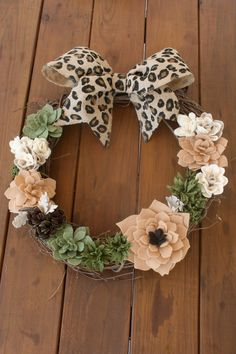 Felt Succulent and Rose 18 inch Grapevine Wreath with Leopard Print Bow 004 by KKeithDesigns on Etsy https://www.etsy.com/listing/201419870/felt-succulent-and-rose-18-inch