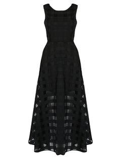Black Plaid Print Organza Skater Maxi Dress Find it in choies.com #street #style