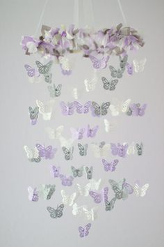 Lavender Butterfly Mobile Baby Girl Lavender by LovebugLullabies