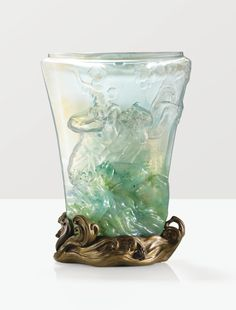 'SAINT CHRISTOPHE', A LARGE MOULD BLOWN GLASS VASE WITH JAPANESQUE PATINATED BRONZE BASE BY EMILE GALLÉ, CIRCA 1900. SIGNED SOLD WITH A COPY OF THE ORIGINAL INVOICE