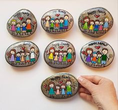 Items similar to CUSTOM family picture Family portrait family gift painted stone pebble art gift for mom home decor unique gift painted rock on Etsy Pebble Painting, Pebble Art, Stone Painting, Pebble Stone, Stone Crafts, Rock Crafts, Family Gifts, Gifts For Mom, Painted Rocks
