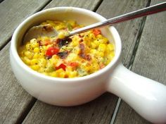 creamy corn and bell pepper bake -- by Jackie Newgent http://jackienewgent.com/2013/08/corn_bake/